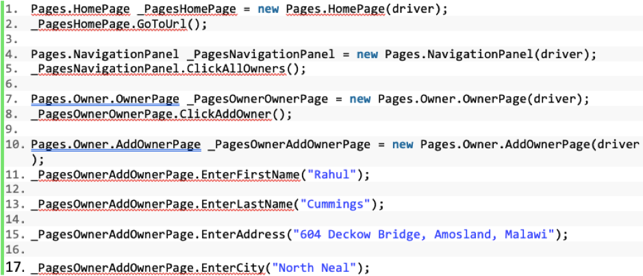 A Java test automation script using Page Object Model